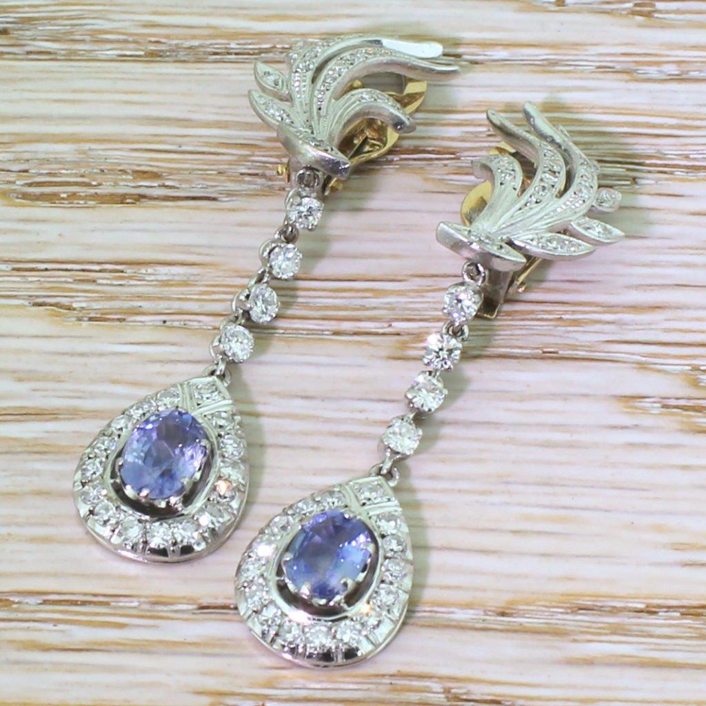mid century 174 carat sapphire amp 159 carat diamond drop earrings circa 1950