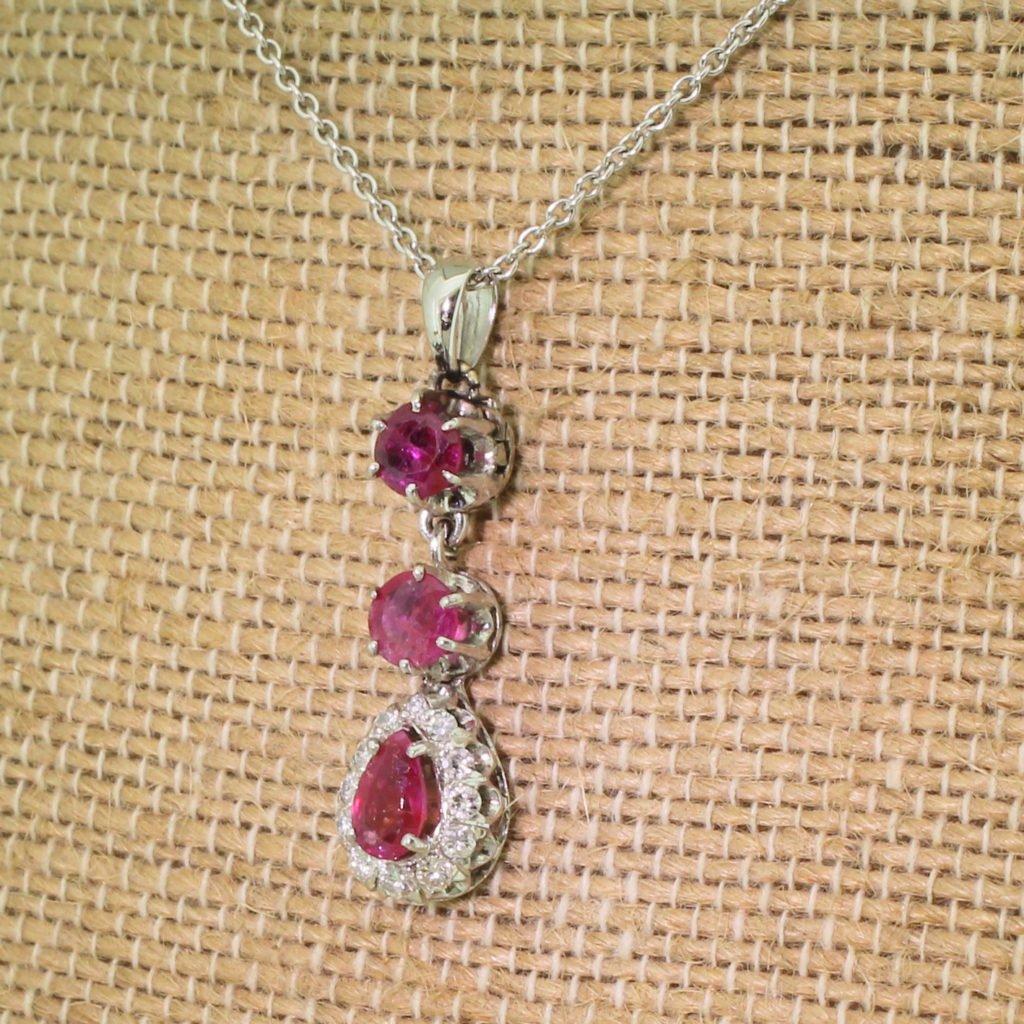 mid century 117 carat ruby 038 diamond pear drop pendant circa 1970