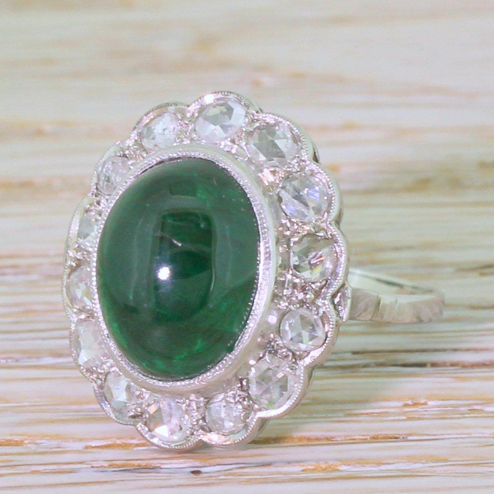 retro 761 carat cabochon emerald 038 rose cut diamond cluster ring circa 1955