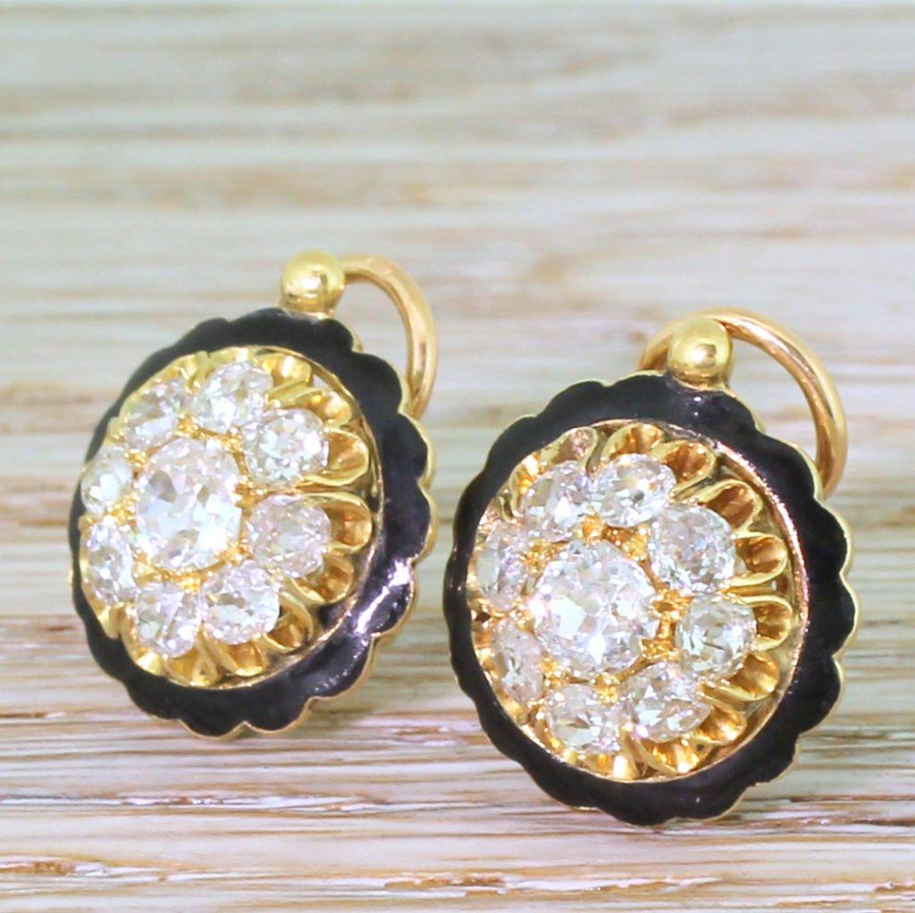 victorian 255 carat old cut diamond 038 black enamel cluster earrings french circa 1900