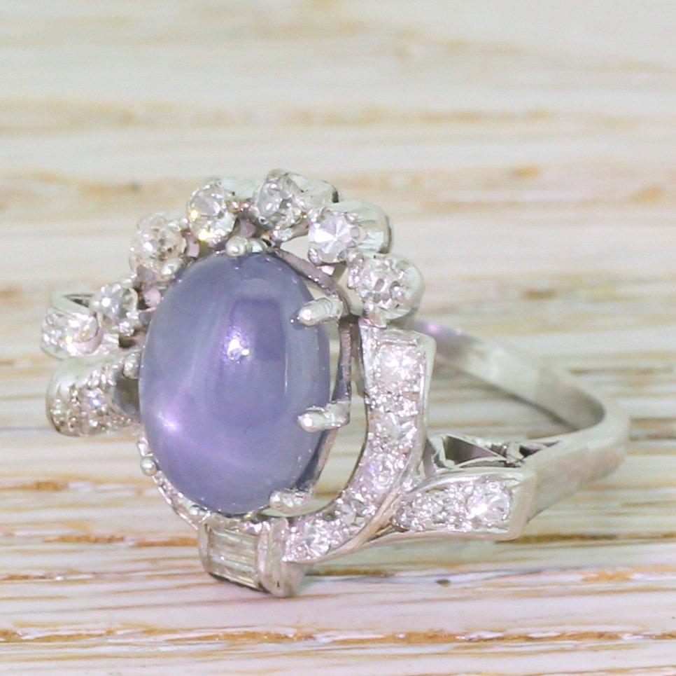 avant garde 763 carat ceylon star sapphire 038 diamond cluster ring circa 1965