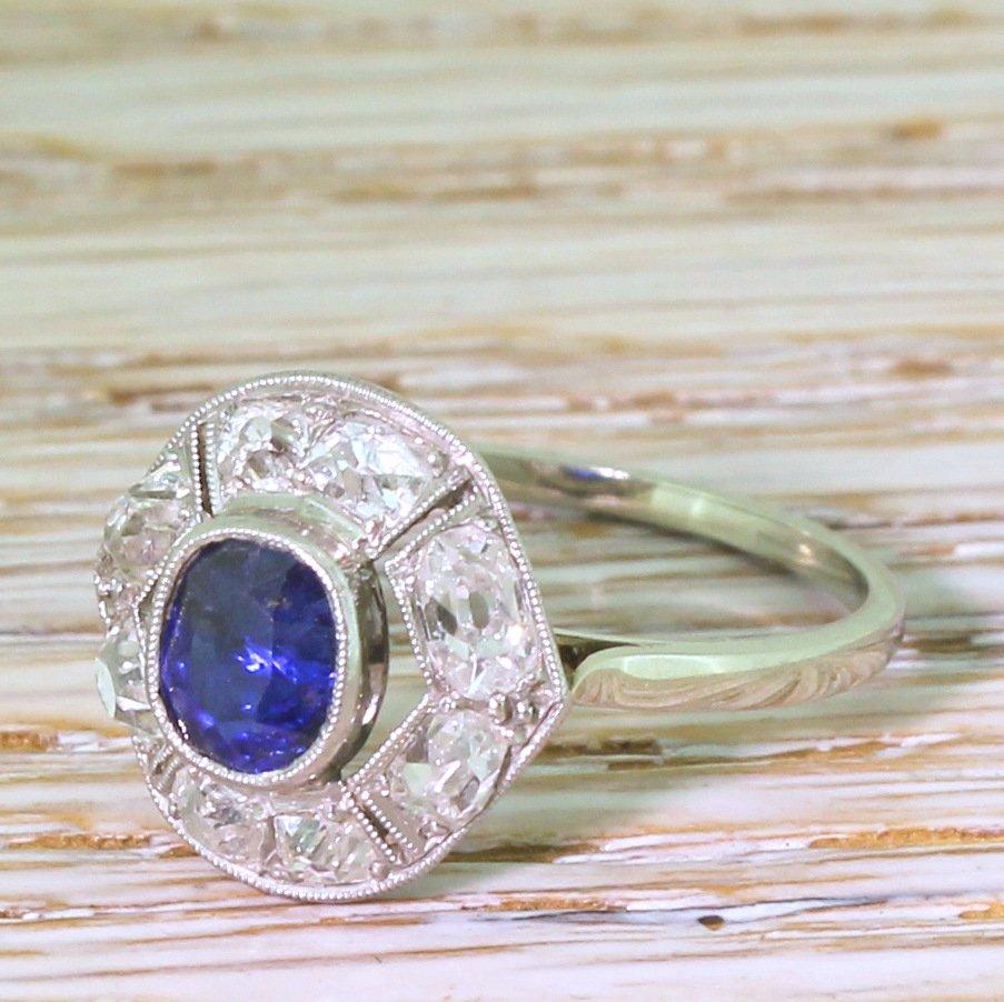 d443665f8e58d Art Deco 0.58 Carat Sapphire & 0.91 Carat Old Cut Diamond Ring, French,  circa 1935 - Gatsby Jewellery
