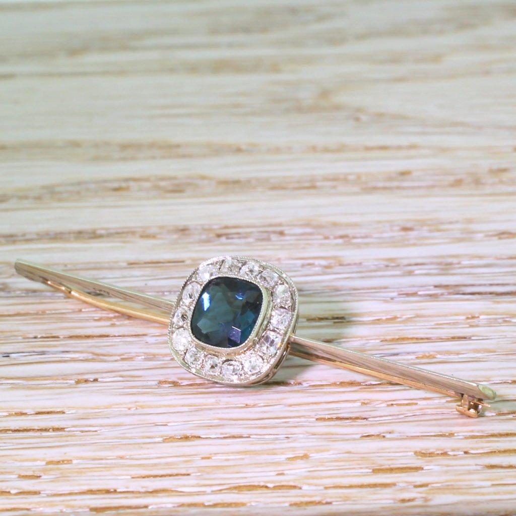art deco tourmaline 038 old cut diamond cluster pin brooch circa 1940