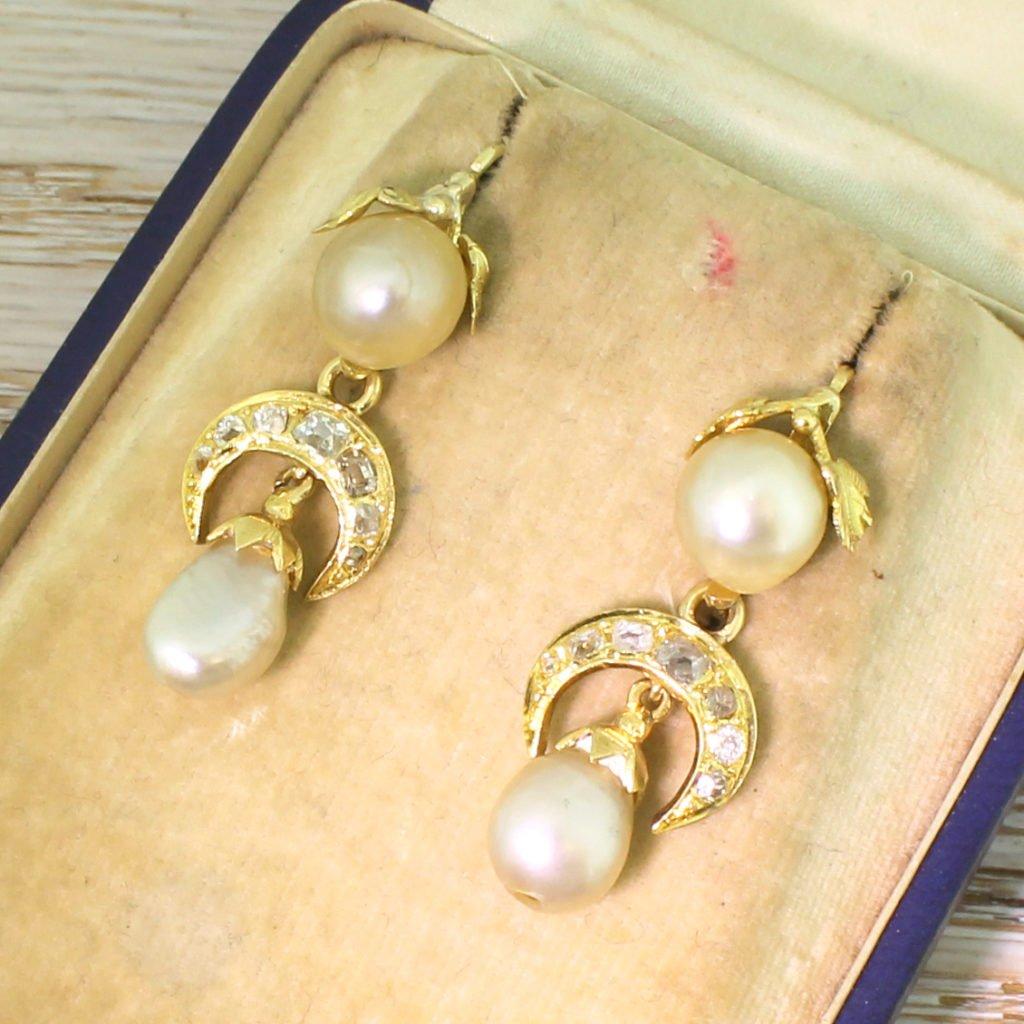 victorian natural pearl amp old cut diamond drop earrings circa 1860