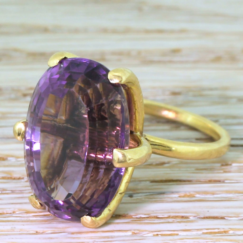 late 20th century 2000 carat amethyst solitaire ring circa 1970