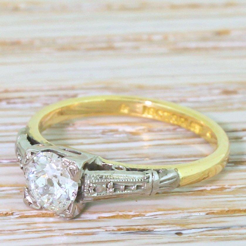 art deco 051 carat old cut diamond engagement ring circa 1920