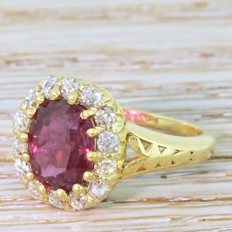 art deco 216 carat ruby 038 old cut diamond cluster ring circa 1925
