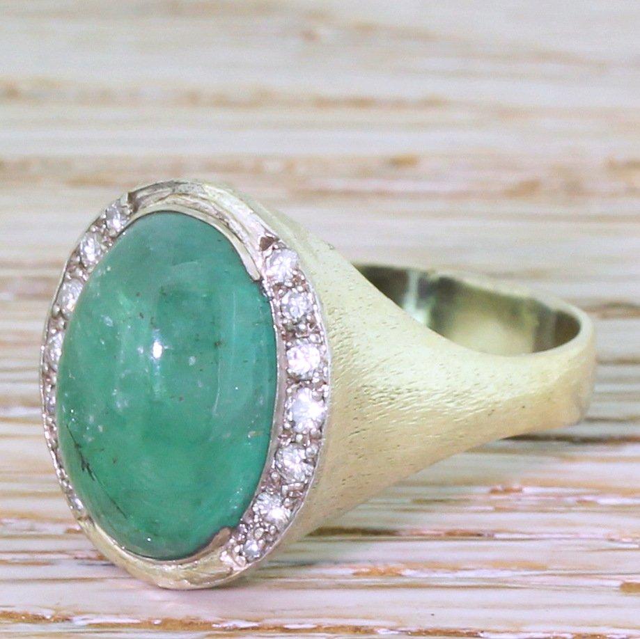 retro 594 carat cabochon emerald 038 diamond ring circa 1960