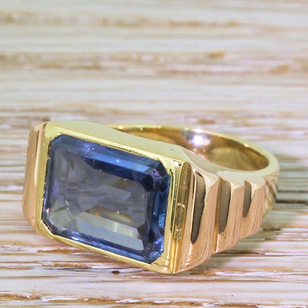 art deco 500 carat emerald cut natural burmese sapphire solitaire ring circa 1920