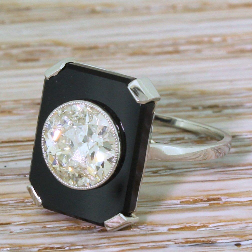 art deco 240 carat old cut diamond 038 onyx ring circa 1920