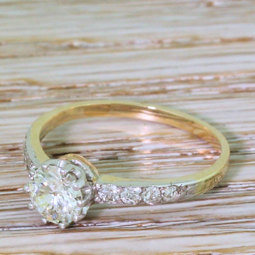 art deco 070 carat old european cut diamond engagement ring circa 1925