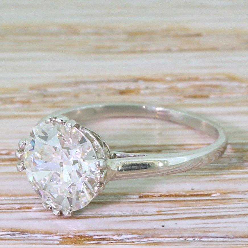 art deco 201 carat old cut diamond engagement ring french circa 1920
