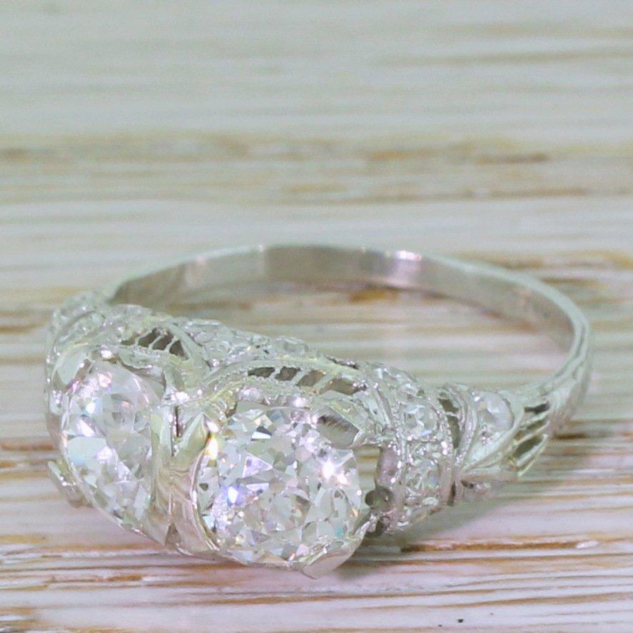tiffany 038 co 238 carat old cut double diamond ring circa 1915