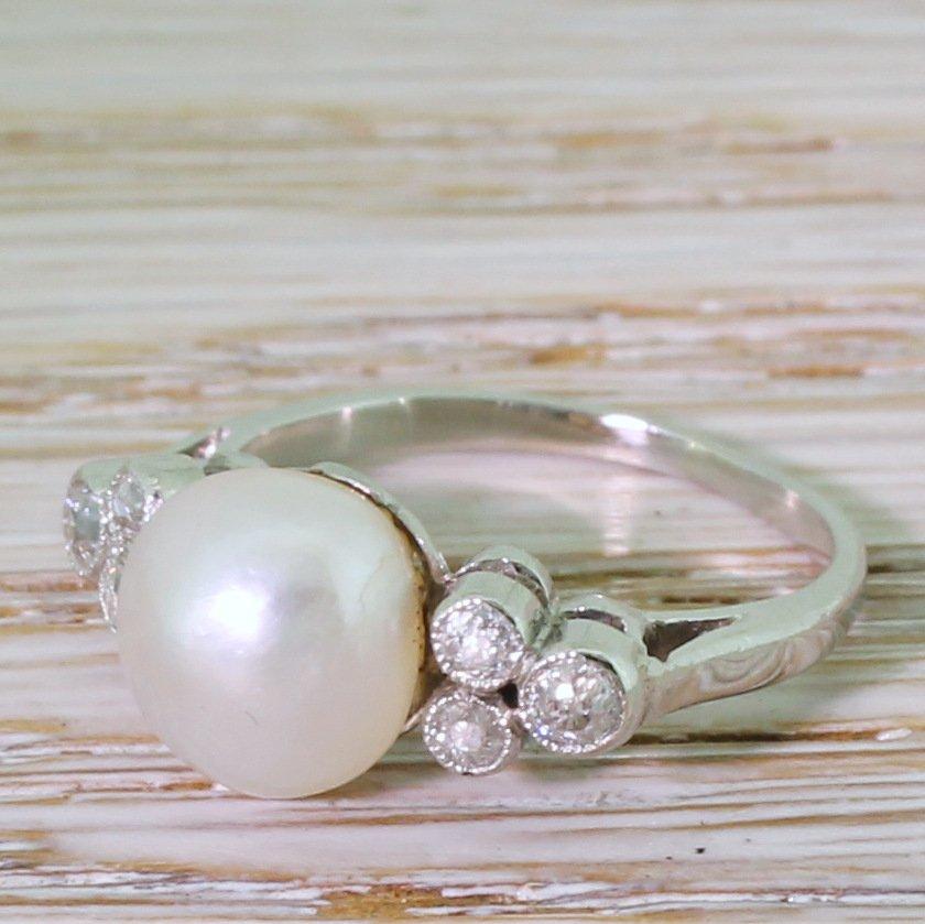 art deco natural saltwater pearl 038 old cut diamond ring circa 1935