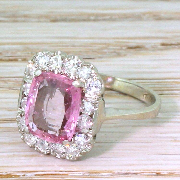 mid century 180 carat natural pink sapphire amp diamond ring circa 1950