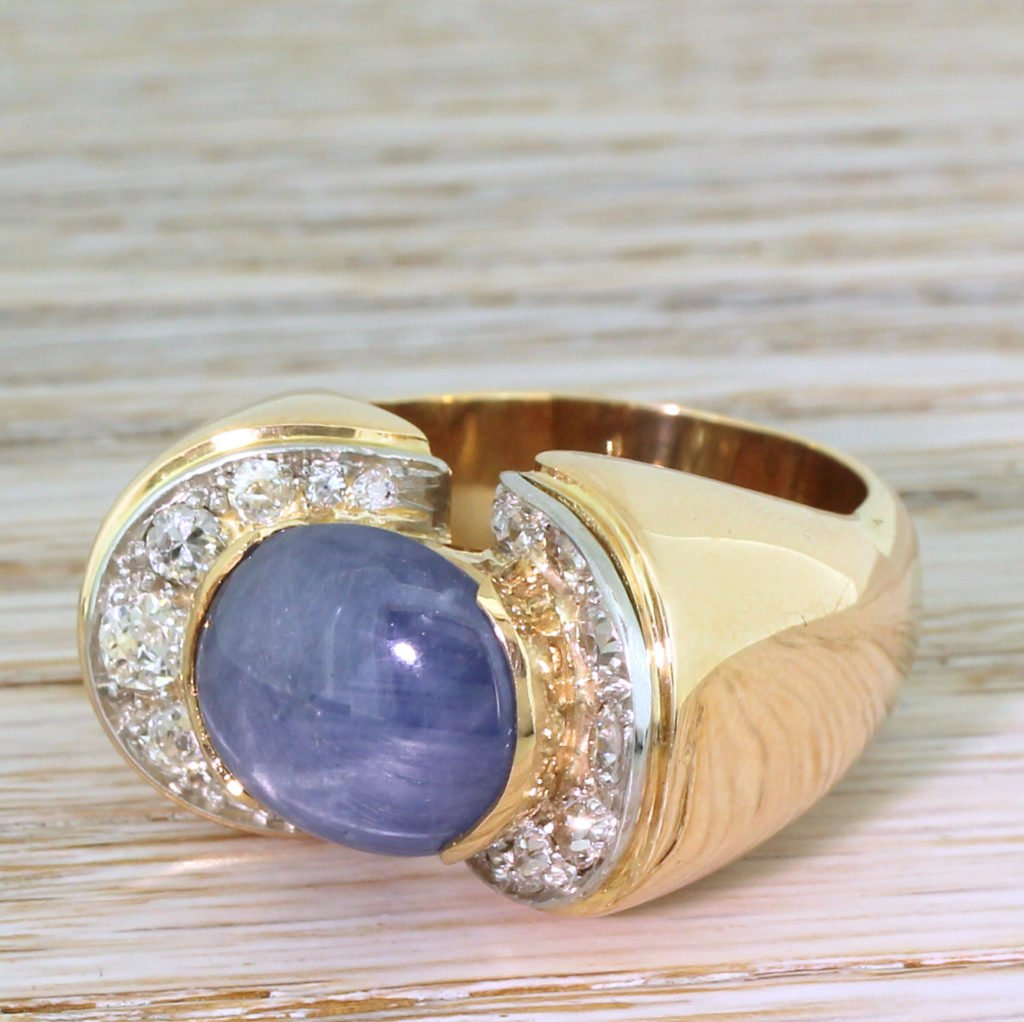 retro 1100 carat star sapphire 038 104 carat old cut diamond ring circa 1950