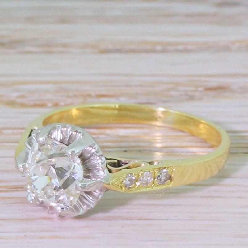 art deco 130 carat old cut diamond engagement ring circa 1940