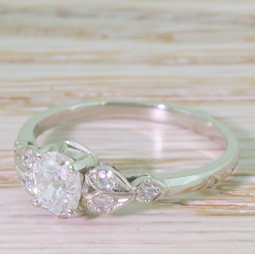 art deco 061 carat old cut diamond engagement ring circa 1920