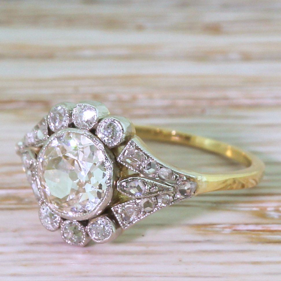 edwardian 090 carat old cut diamond cluster ring circa 1910