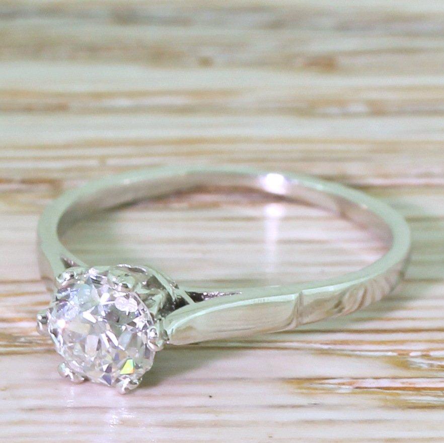 art deco 073 carat old cut diamond engagement ring circa 1935