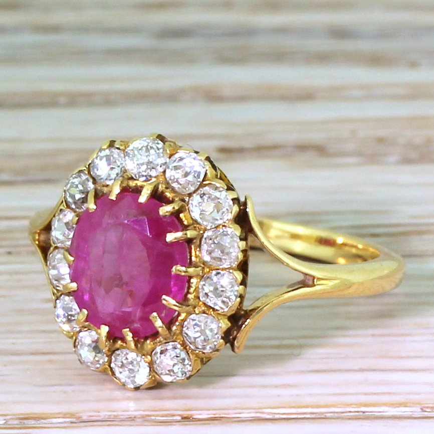 victorian 151 carat ruby 038 old cut diamond cluster ring circa 1900
