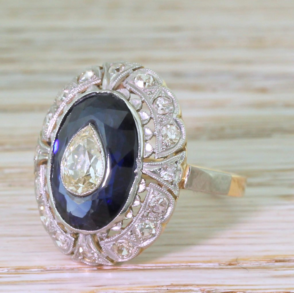 mid century old pear cut 038 sapphire cluster ring circa 1970