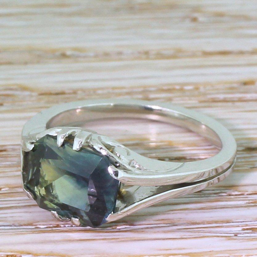 mid century 385 carat greenish blue sapphire solitaire ring circa 1955