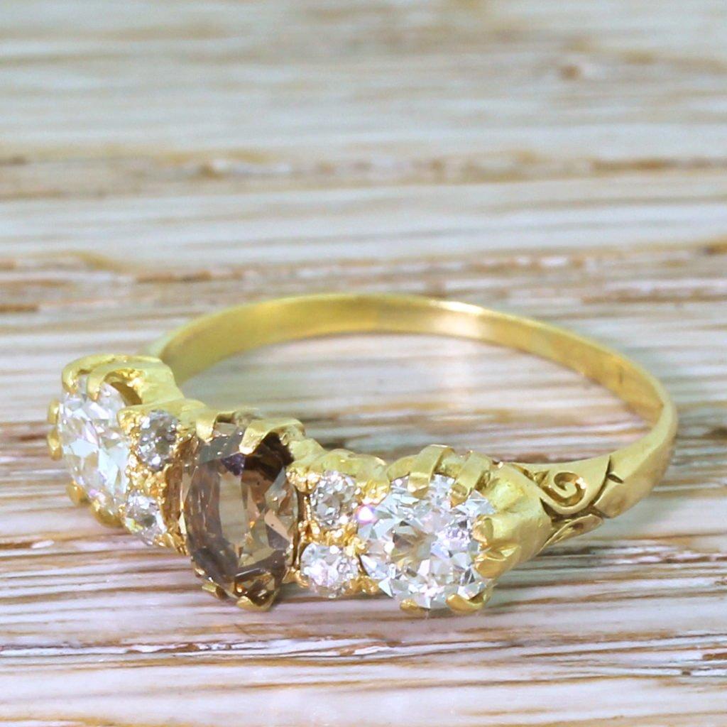 victorian 210 carat fancy cognac 038 white old cut diamond ring circa 1900