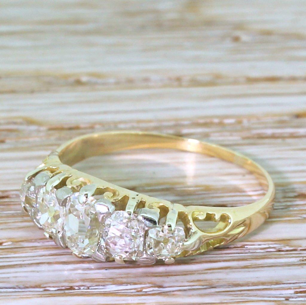 victorian 150 carat old cut diamond five stone ring circa 1890