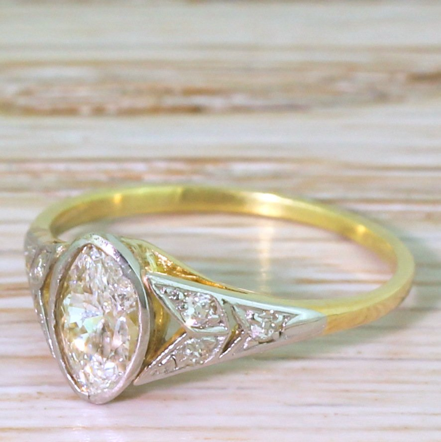 art deco 054 carat old marquise cut diamond engagement ring circa 1935