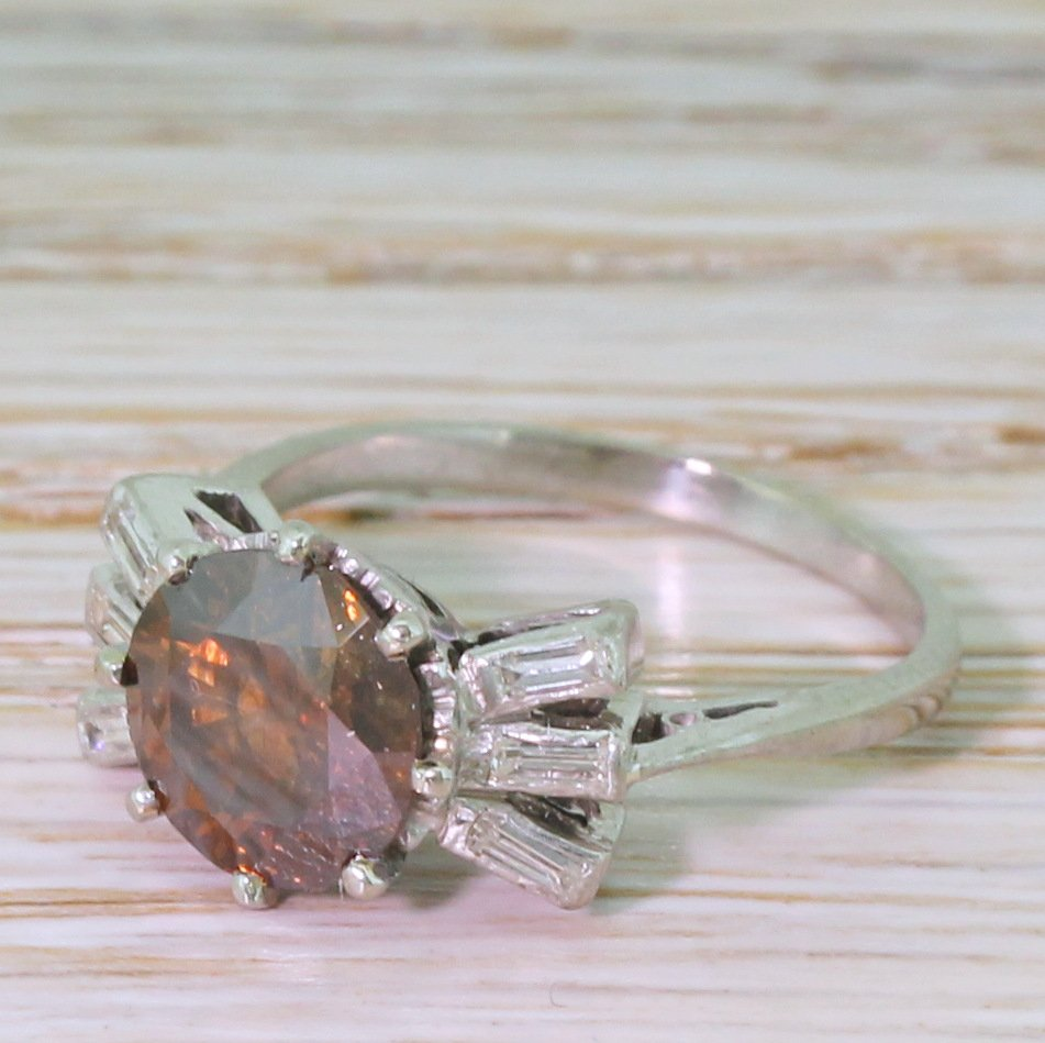 art deco 170 carat fancy vivid orangey brown old european cut diamond ring circa 1925