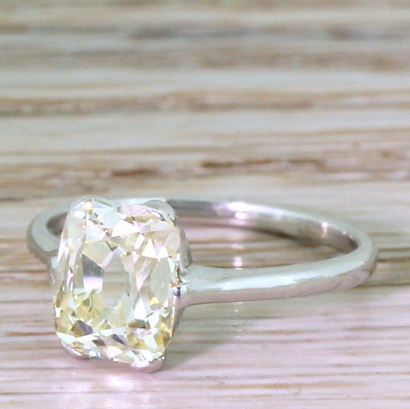art deco 211 carat old cushion cut diamond solitaire ring circa 1935