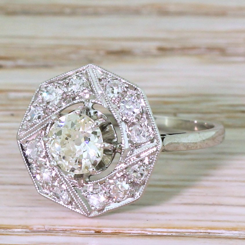 art deco 079 carat old cut diamond hexagonal cluster ring french circa 1930