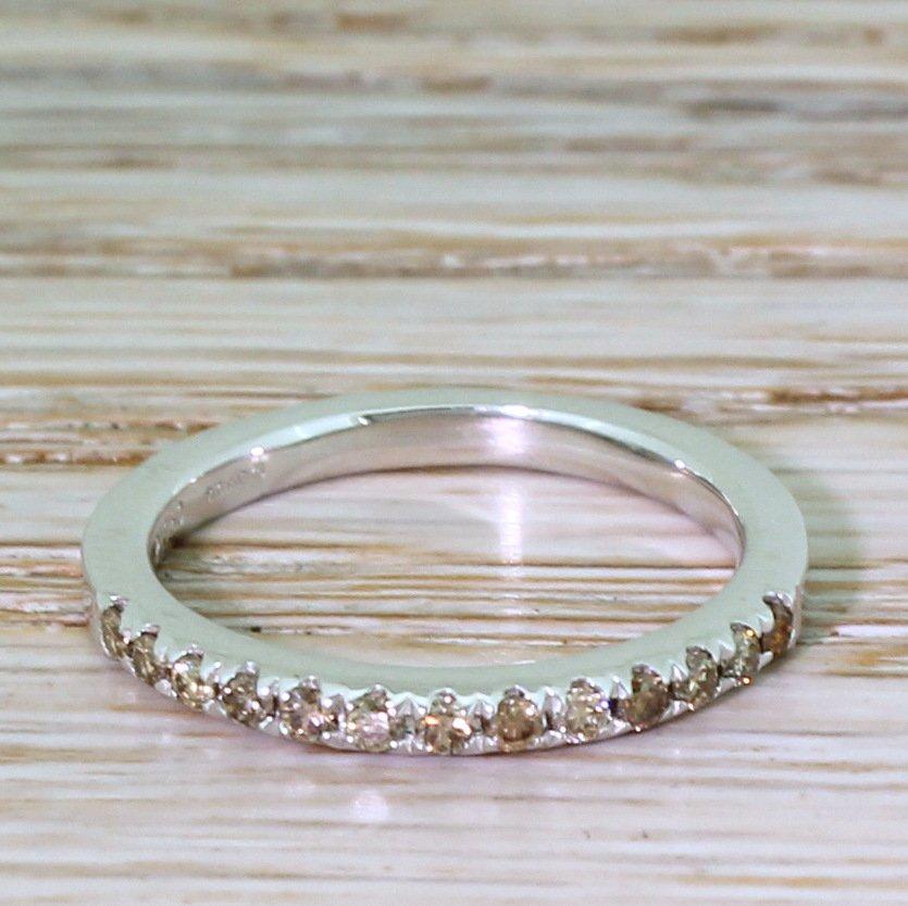 024 carat fancy yellow 038 cognac diamond half eternity band ring platinum
