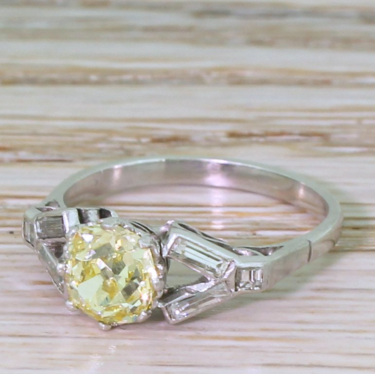 art deco 118 carat fancy yellow old cut diamond engagement ring circa 1925