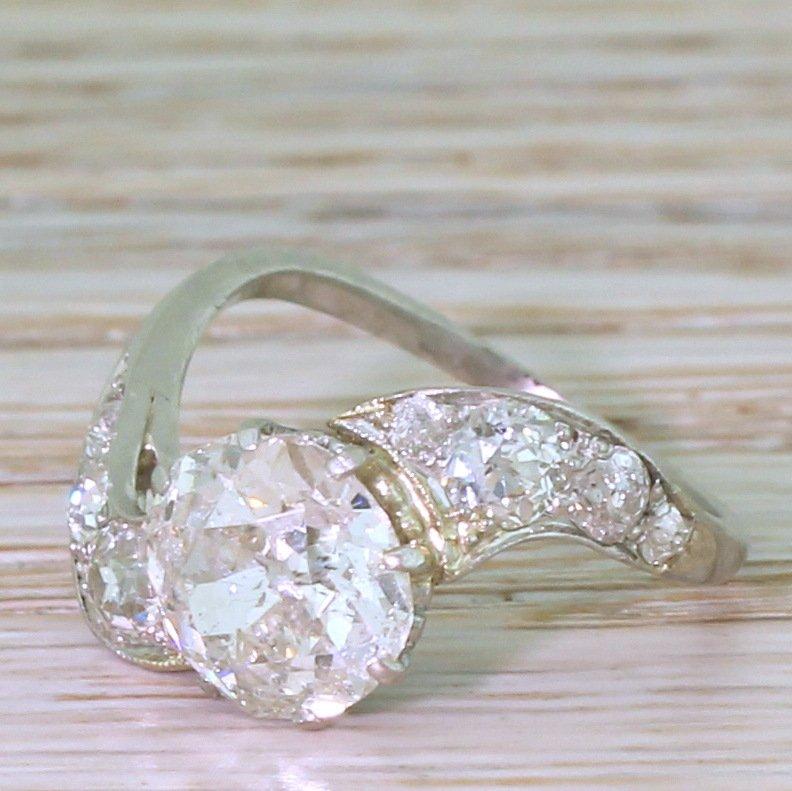 art deco 242 carat old cut diamond twist ring circa 1930