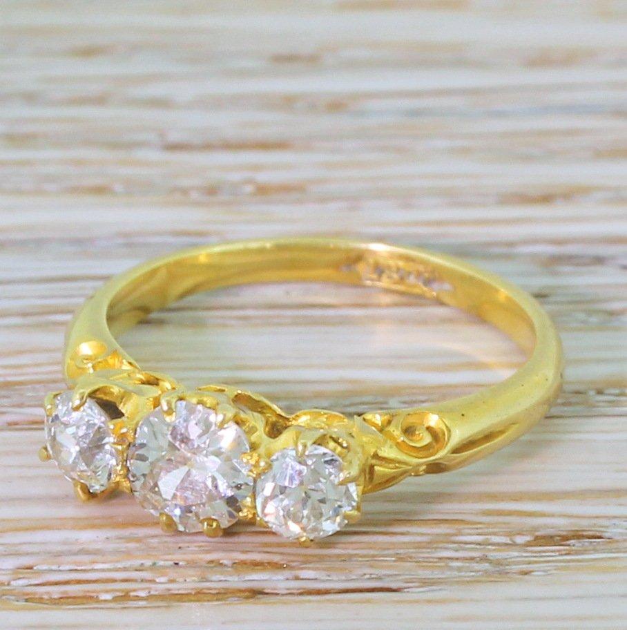 victorian 100 carat old cut diamond trilogy ring circa 1900