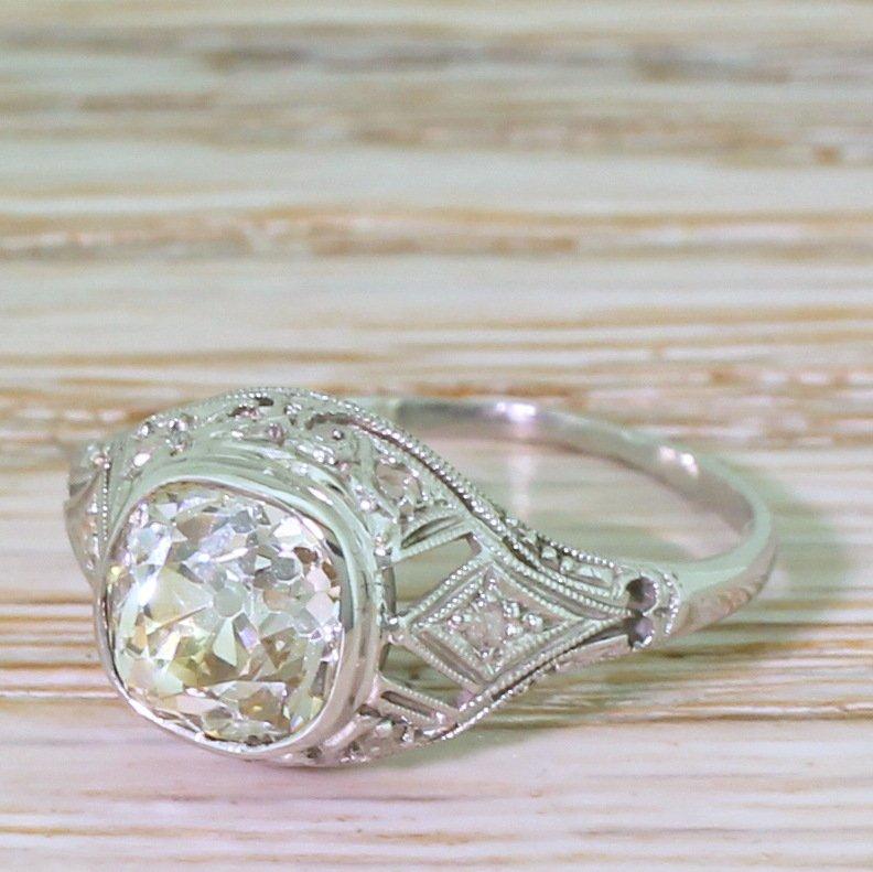 art deco 144 carat old mine cut diamond engagement ring circa 1915