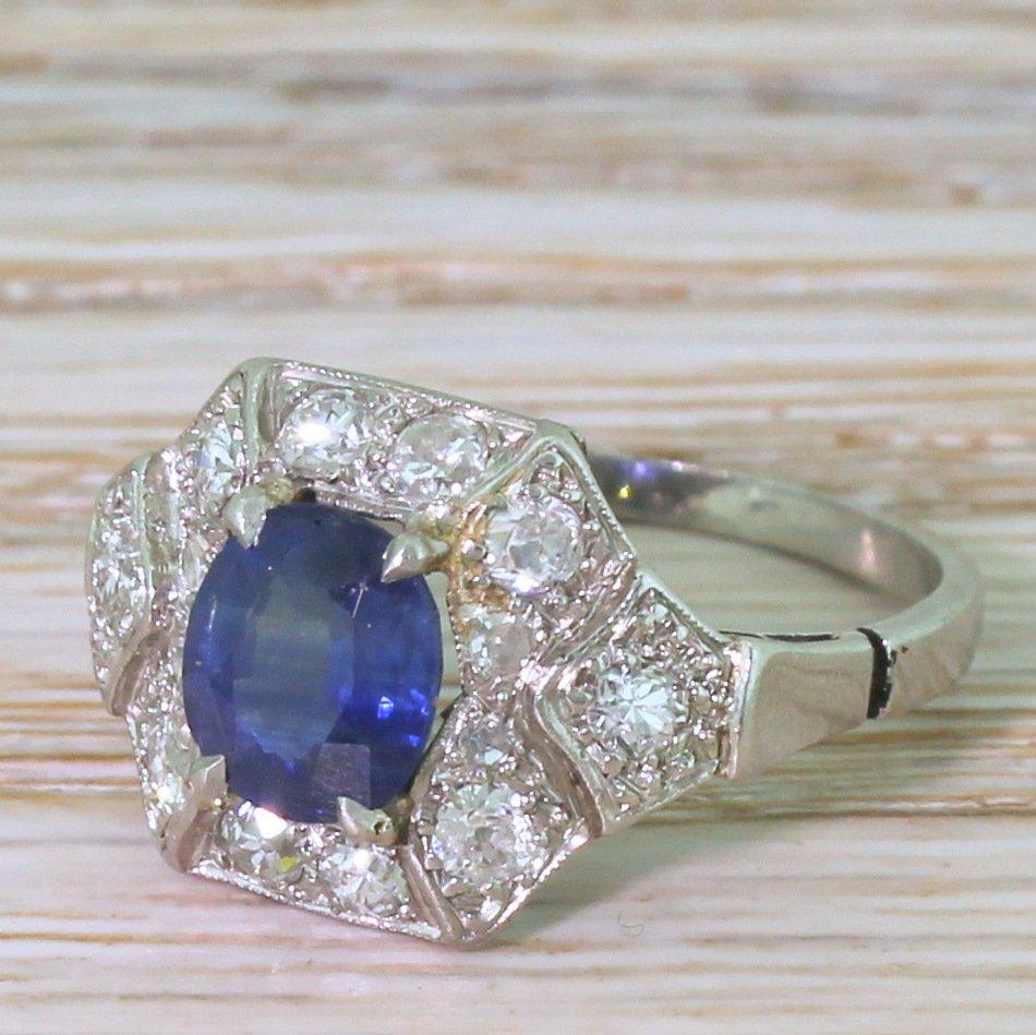 art deco 120 carat sapphire amp diamond cluster ring french circa 1920