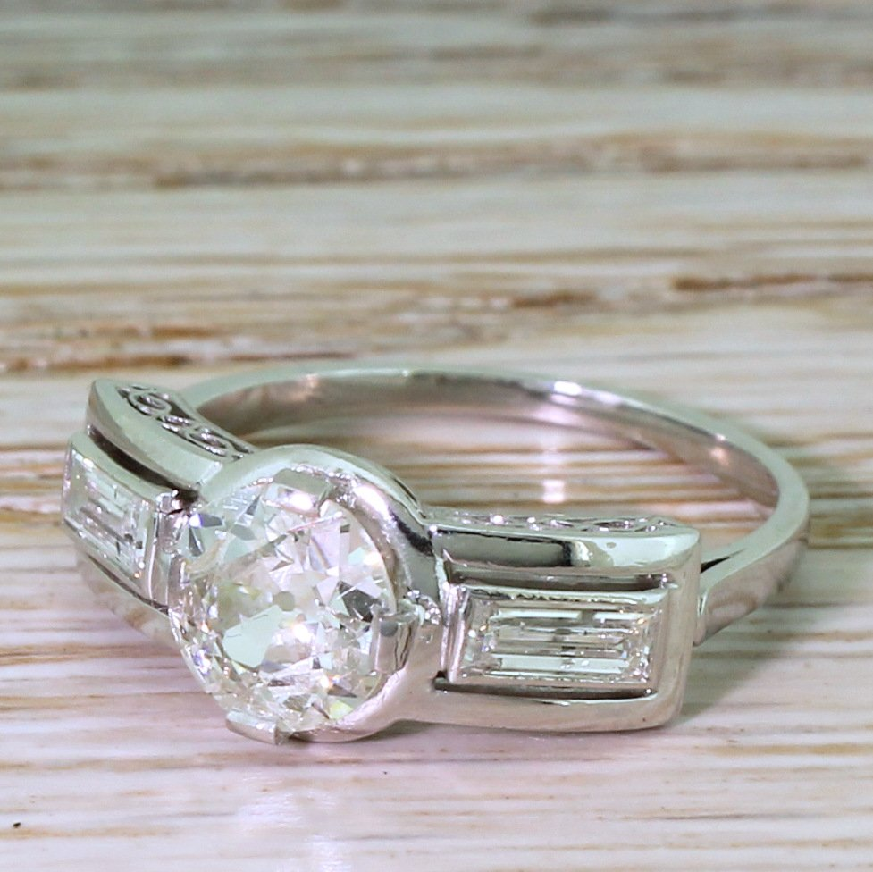 art deco 103 carat old cut diamond engagement ring french circa 1925