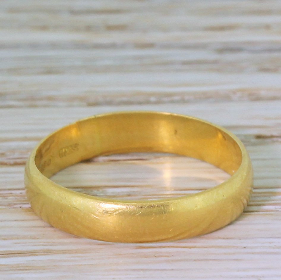 mid century 22k yellow gold wedding band dated 1959