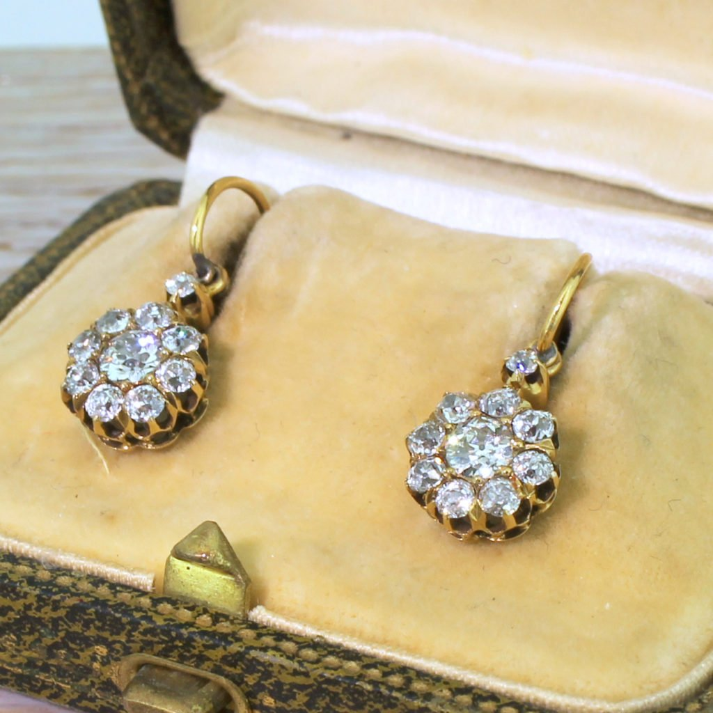 victorian 146 carat old cut diamond cluster earrings circa 1900