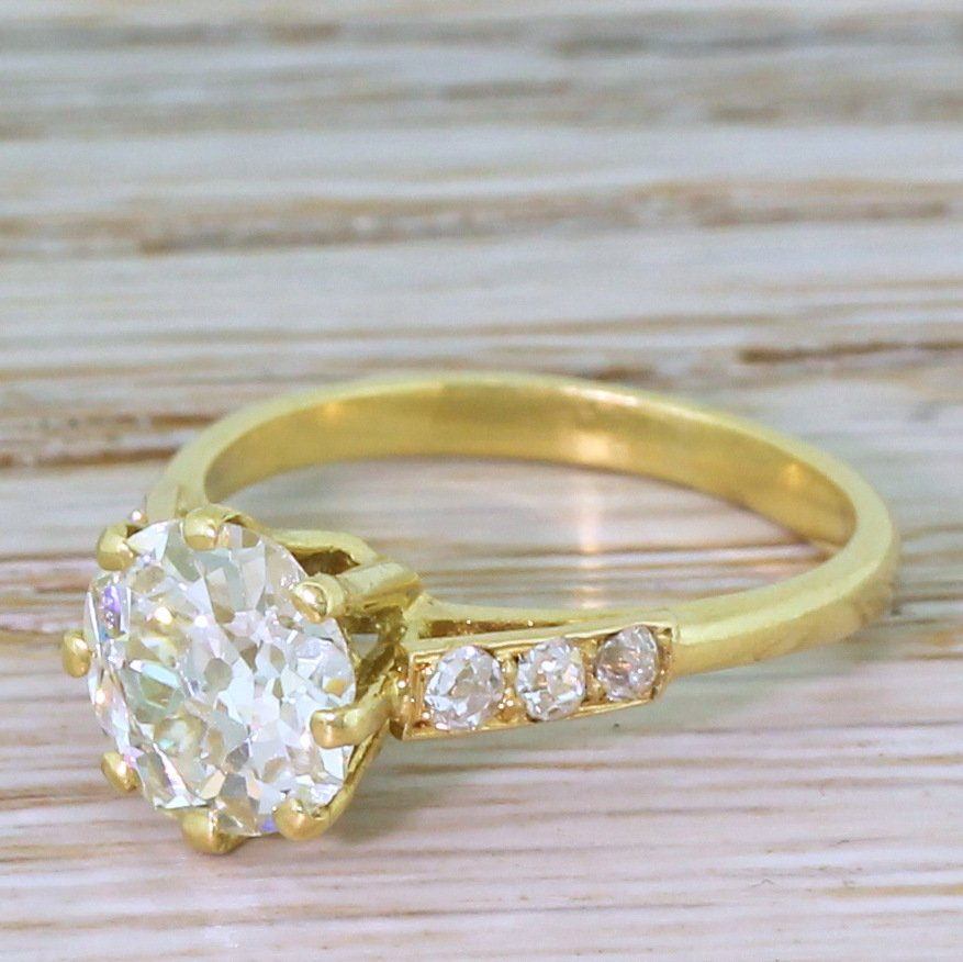 mid century 185 carat old european cut diamond engagement ring french circa 1950