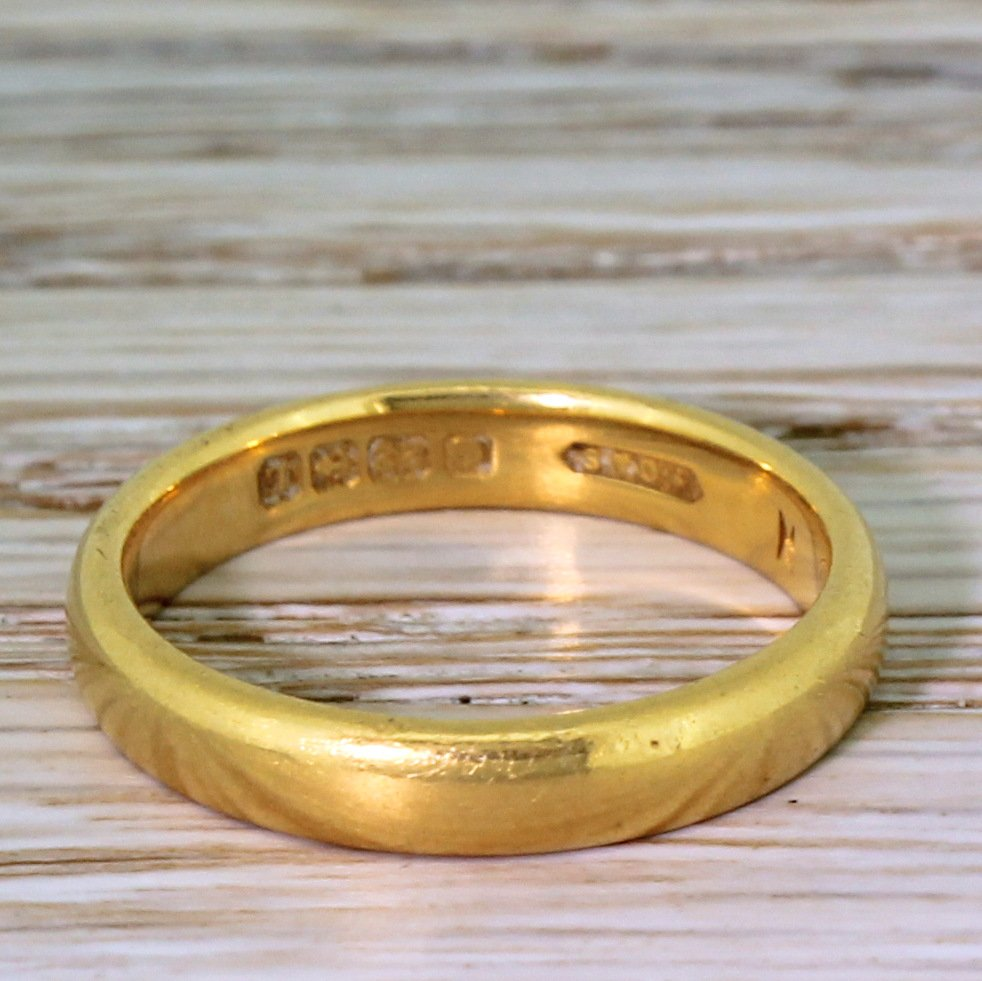 art deco 22k yellow gold wedding band dated 1935