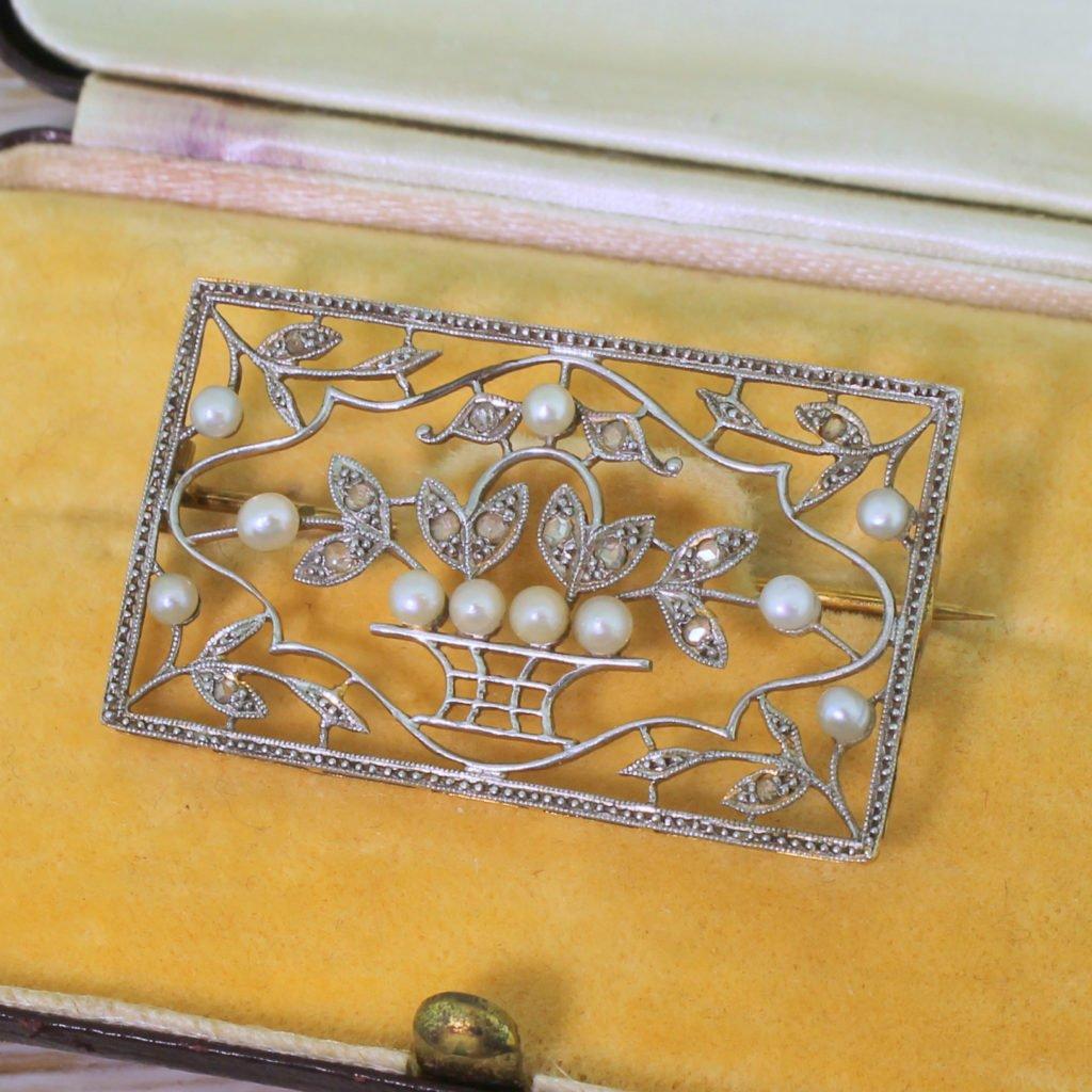 edwardian seed pearl 038 rose cut diamond panel brooch boxed circa 1910