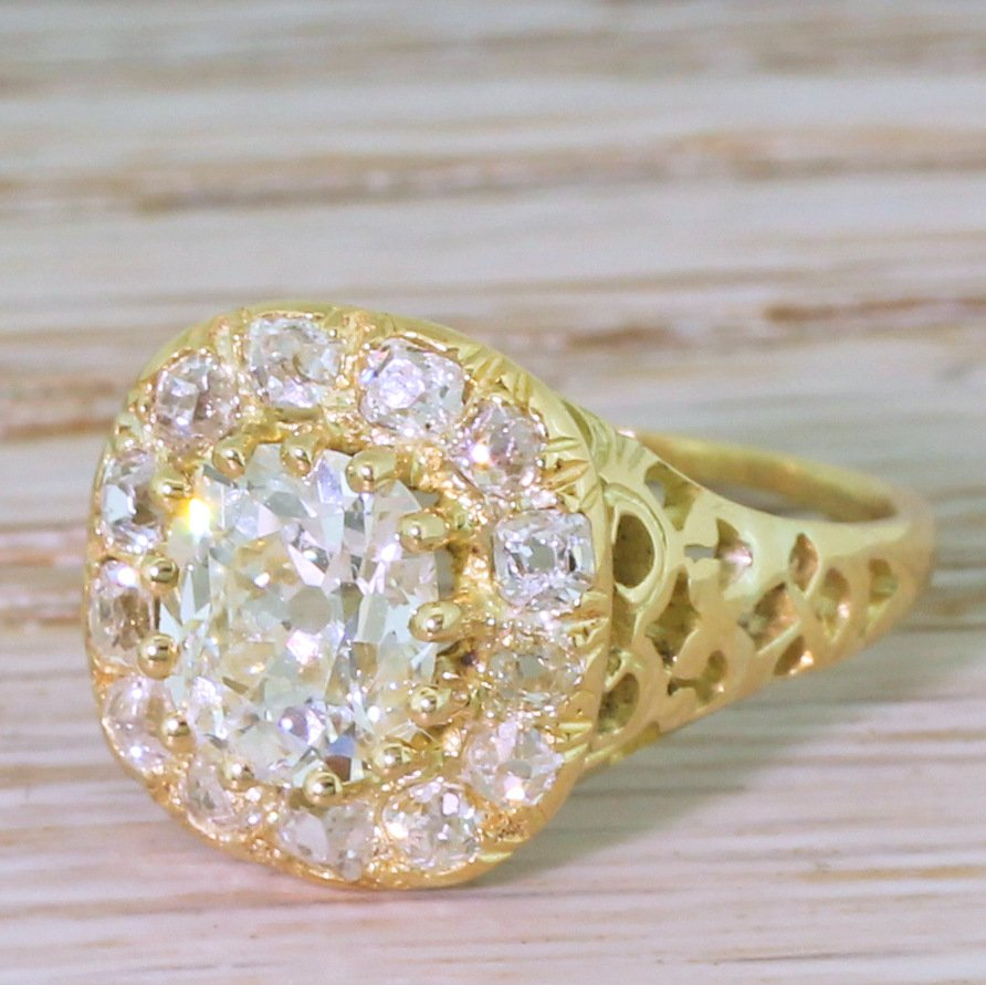 victorian 280 carat old mine cut diamond cluster ring circa 1880