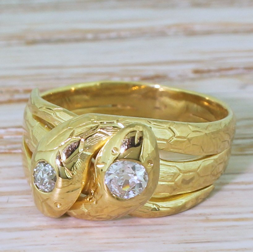 victorian 030 carat old cut diamond double serpent ring circa 1900