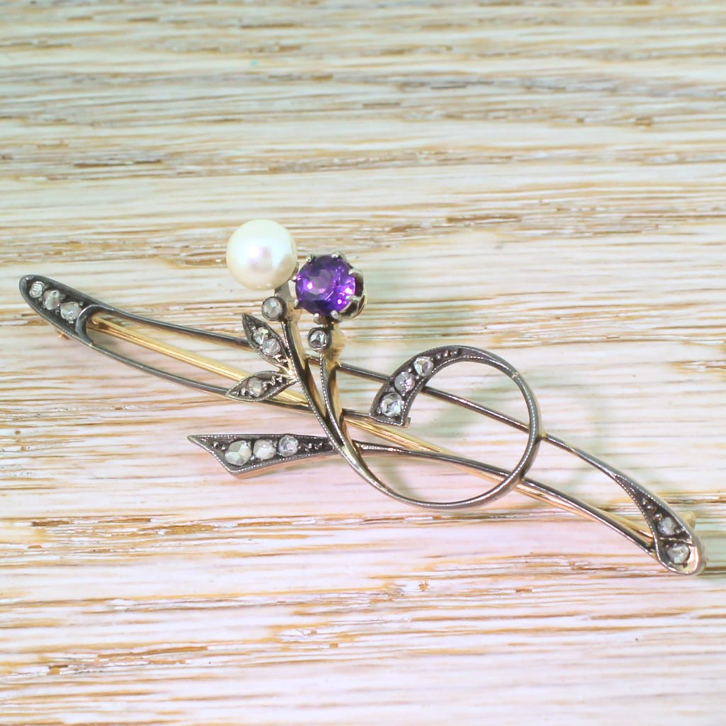 art nouveau pearl amethyst 038 rose cut diamond pin brooch circa 1905