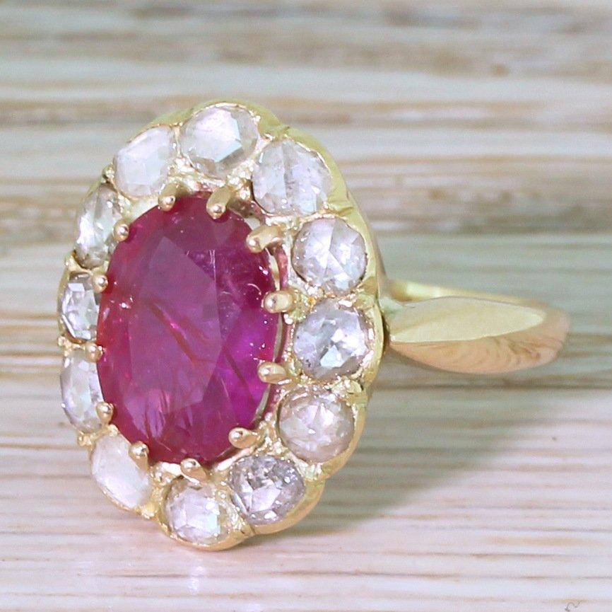 victorian 310 carat natural burmese ruby 038 rose cut diamond ring circa 1870