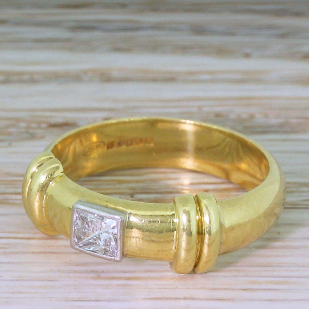 late 20th century 027 carat princess cut diamond ring dated 1993